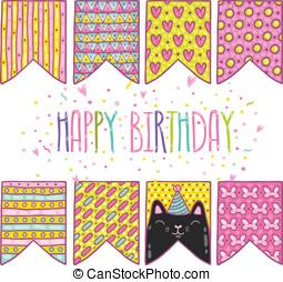 cute cartoon happy birthday holiday flags with cat - cartoon...