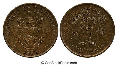 cinco, centavos, república, Seyshelles, 1982