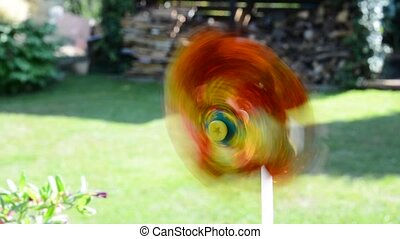 Color pinwheel - Color ornamental rotating pinwheel in the...