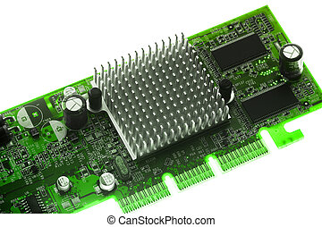 Circuit board with heat sink on white background
