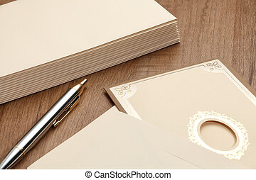 Invitation card and envelop - Invitation card and stack of...