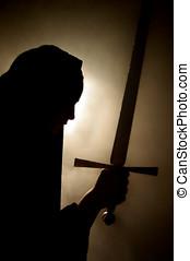 árabe, mulher, aparência, espada, mão