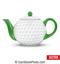 Ceramic Teapot In Golf Ball Style. Football Vector Illustration.