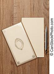 Blank invitation card - Blank invitatiion card on wood table