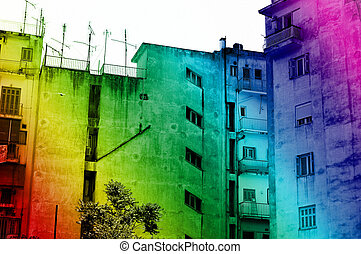 urban rainbow - Rainbow colored downtown apartment building...