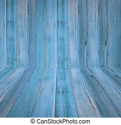 Old grunge blue wood wall textured background
