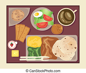 in flight meal - an illustration of a tray of food served on...