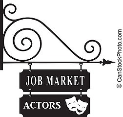 Labor market actors - Street sign for the labor market...