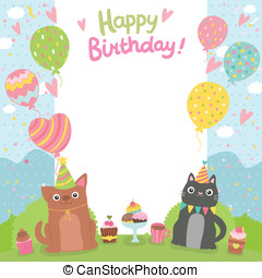 Happy Birthday card background with dog and cat