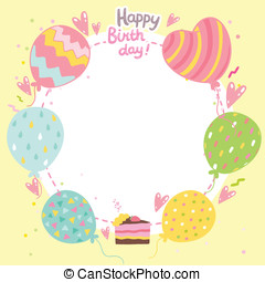Happy Birthday card background with balloons.