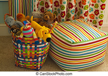 Colorful Basket with Plush Toys, Cu - Detail of a colourful...
