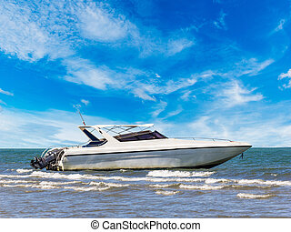 Motorboat at beauty beach in Thailand