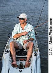 homem, pesca, kayak