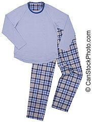 Blue childrens pajamas Isolated on a white background