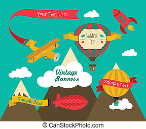 Vintage Air Vehicles Banner Design Set - Set of Vintage Air...