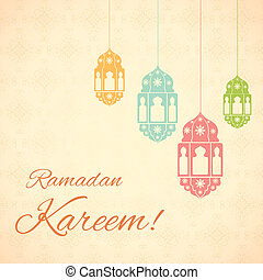 Ramadan Kareem Greetings for Ramadan background - vector...