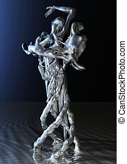 Liquid Female - 3D Illustration of a liquid Female