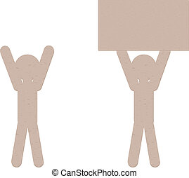 Paper Men - Cut out of brown paper men on white background