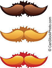 Mustaches Set - Colorful mustaches set with grunge splatters...