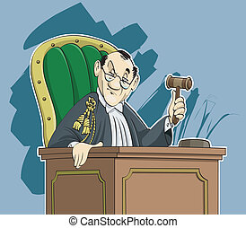 Judge cartoon - Cartoon-style illustration: an austere judge...