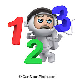 3d Astronaut floating with numbers - 3d render of an...
