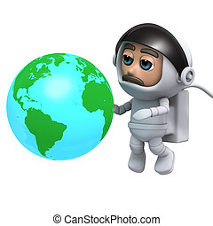 3d Astronaut with globe of the Earth - 3d render of an...