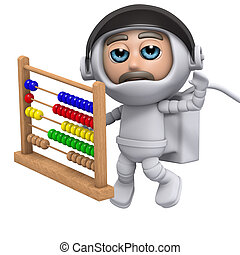 3d Astronaut with abacus - 3d render of an astronaut with an...
