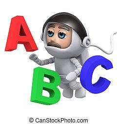 3d Astronaut learns the alphabet - 3d render of an astronaut...