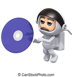 3d Astronaut DVD - 3d render of an astronaut with a dvd