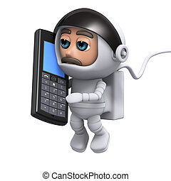 3d Astronaut chats on a mobile phone - 3d render of an...