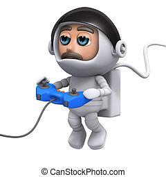 3d Astronaut gamer - 3d render of an astronaut playing a...