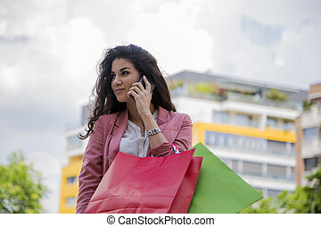 Young woman at shopping