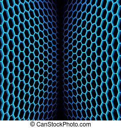 Abstract wavy net with hex cells - Abstract two sided net...