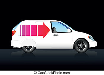 White delivery car with red arrow