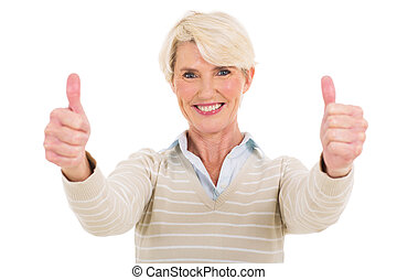 middle aged woman thumbs up - beautiful middle aged woman...