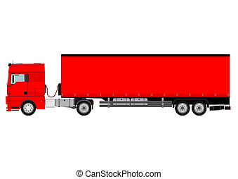 Truck - Large goods vehicle on a white background. Vector