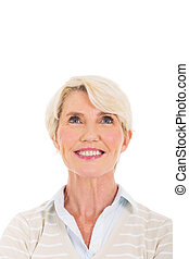 middle aged woman looking up - portrait of middle aged woman...