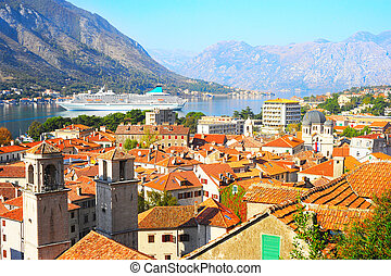 Kotor skyline - Old Town of Kotor and cruise ship in the bay...