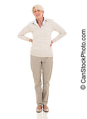 middle aged woman having back pain isolated on white...