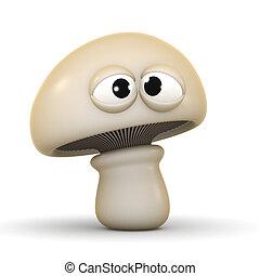 3d Cross eyed mushroom - 3d render of a mushroom looking...