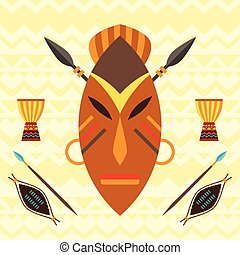 African ethnic background with illustration of mask.