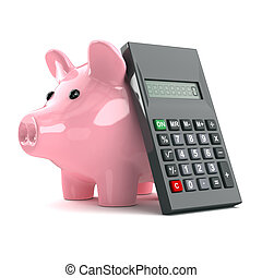 3d Piggy bank and calculator