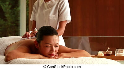 Gorgeous woman getting a massage with herbal compresses in...