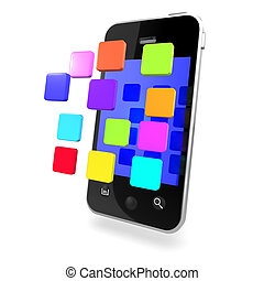 3d Multi coloured apps on smartphone - 3d render of a...