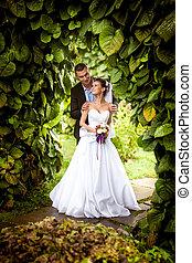 Groom hugging bride from back under tree at park - Handsome...