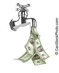 3d Dollar tap - 3d render of a water tap with dollars...