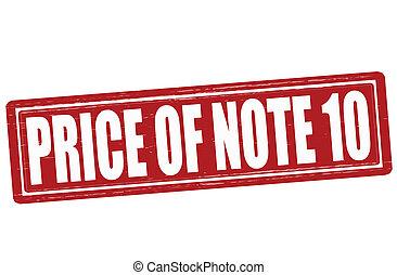 Price of note ten