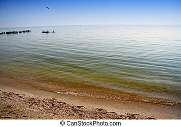 Azov sea - Pure water of Azov sea in clear day with bird...