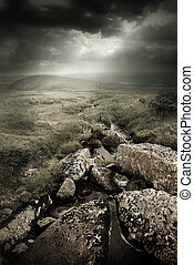 Dramatic Wild Moorlands. Wild landscape from Dartmoor, UK