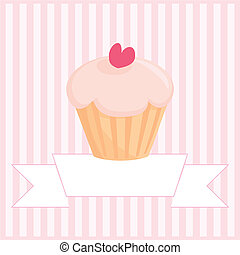 Sweet retro vector cupcake card - Sweet retro vector muffin...